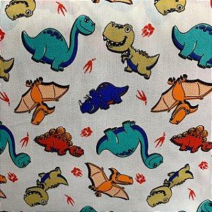 Tricoline Estampada Dinossauros Branca