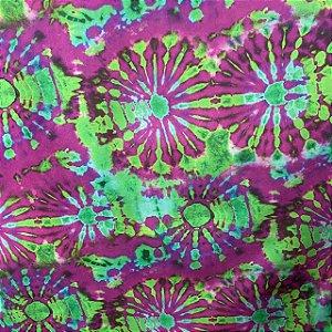 Suplex Praia Estampada Tie Dye Rosa e Verde