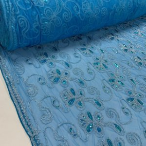 Tule Bordado Floral Azul