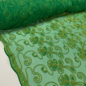Tule Bordado Floral Verde
