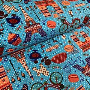 Tricoline Estampada Paris Azul