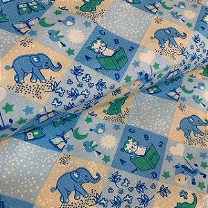 Tricoline Estampada Elefantinho Azul