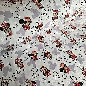 Malha de Algodão Estampada Disney Minnie
