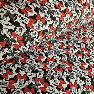 Malha de Algodão Estampada Minnie Mouse