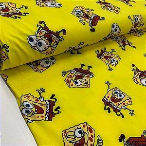 Malha Suplex Estampada Bob Esponja Amarelo