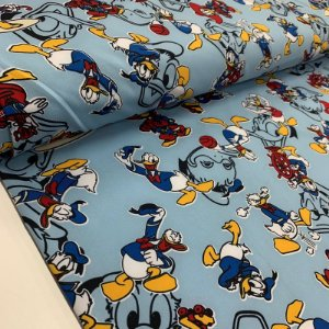 Malha Suplex Estampada Pato Donald Azul