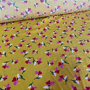 Viscose Floral Fundo Amarelo