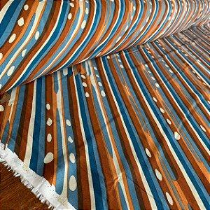 Viscose Estampada Pinturas Diagonais Azul