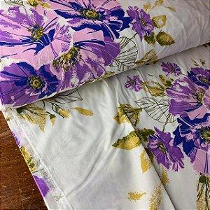 Percal 150 Fios Estampado Flor Púrpura