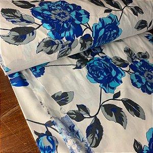 Percal 150 Fios Estampado Flor Azul
