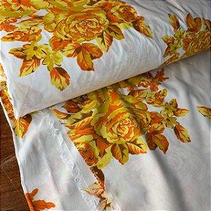 Percal 150 Fios Estampado Flor Amarela