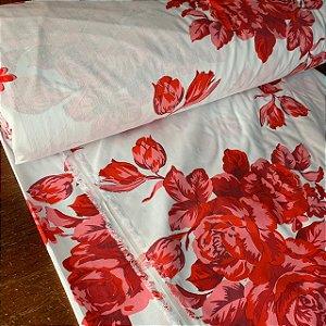 Percal 150 Fios Estampado Flor Gradiente Vermelho