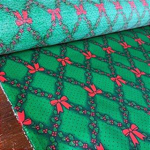 Gorgurinho Estampado Laços de Natal Verde