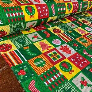 Gorgurinho Estampado Quadrinhos de Natal Verde