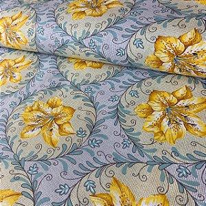 Percal 150 Fios Estampado Moldura Floral Amarela
