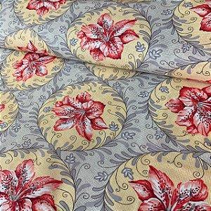 Percal 150 Fios Estampado Moldura Floral Vermelha