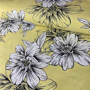Percal 150 Fios Estampado Contorno Floral Amarelo