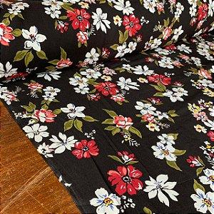 Viscose Estampada Floral Fundo Preto