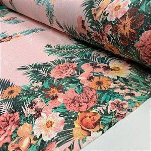 DUPLICADO - Viscolycra Estampada Barrada Floral Cinza