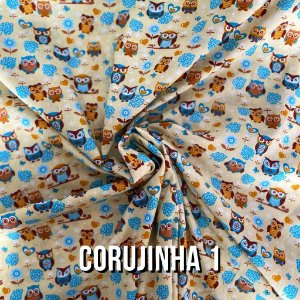 Tricoline Estampado Corujinha