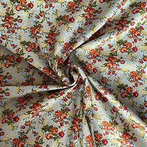 Tricoline Estampado Floral Ramado