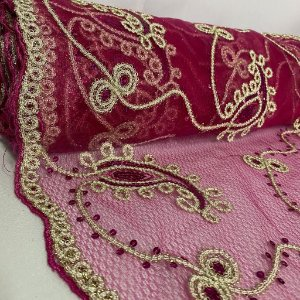 Tule Bordado Glamour Rosa Pink