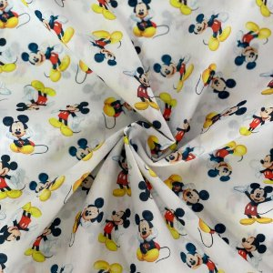 Tricoline Estampada Digital Mickey Branca