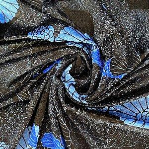 Veludo Cristal Estampado Preto com Azul