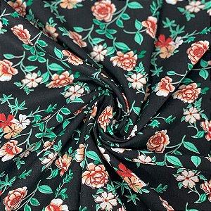 Tricoline Floral Fundo Preto com Flores