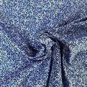 Tricoline Estampada Ramado Azul