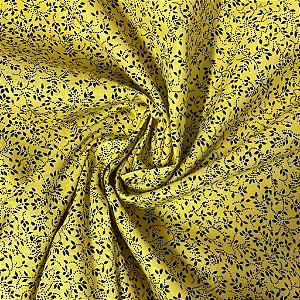 Tricoline Fundo Amarelo Com Florzinha Preta