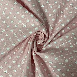 Tricoline Estampada Fundo Rosa De Coroinhas