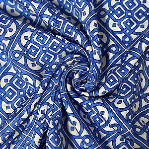 Viscose Estampada Com Azul