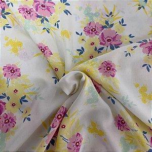 Viscose Estampada Floral Branca com Rosa