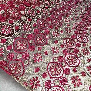 Renda Guipir Bicolor Rosa