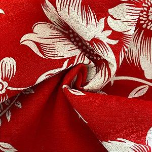 Tecido De Gorgurão Floriado Vermelho Com Branco