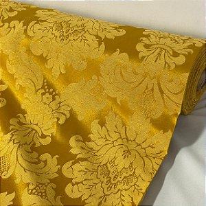 Tecido Jacquard Arabesco Dourado