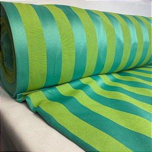 Tecido Jacquard Listrado Em Tons De Verde