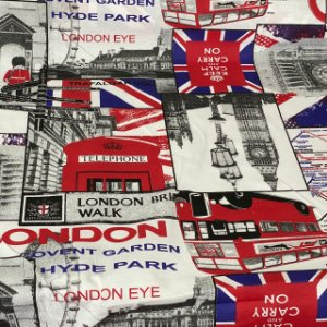 Gorgurão Impermeável Com Estampa De Londres