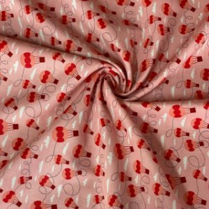 Tricoline Estampada Balões Rosa