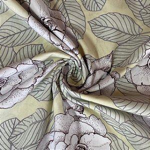 Percal Estampado Floral Fundo Jasmine