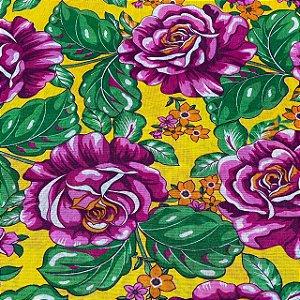 Chitão Fundo Amarelo Flores Rosas