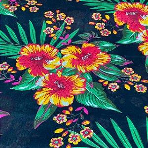 Chitão FundoPreto Com Floral