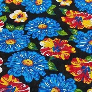 Chitão Fundo Preto Com Flores Azuis