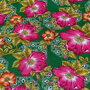 Chitão Fundo Verde Com Flores Rosas