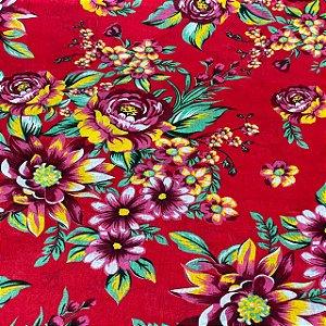 Chitão Fundo Vermelho Com Flores Rosas
