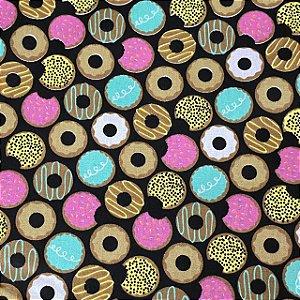 Tricoline Estampada de Donuts