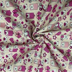Tricoline Estampa de ursinho rosa