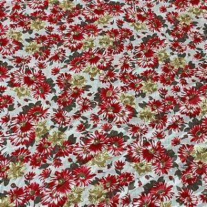 Cambraia Estampada Floral Vermelho