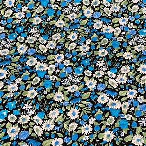 Cambraia Estampada Flores no Preto
